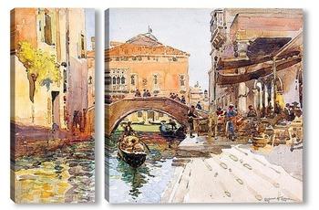 Модульная картина Венецианское кафе