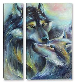 Модульная картина Пара волков