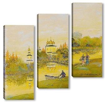 Модульная картина Монастырь близ Кинешмы. Вечер