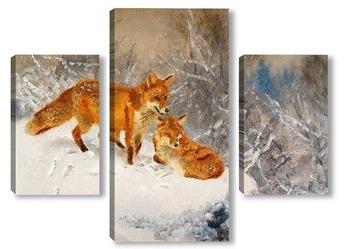 Модульная картина Две лисы в зимний пейзаж