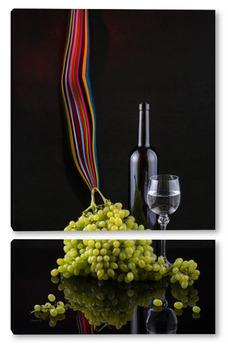 Натюрморт с виноградом и вином