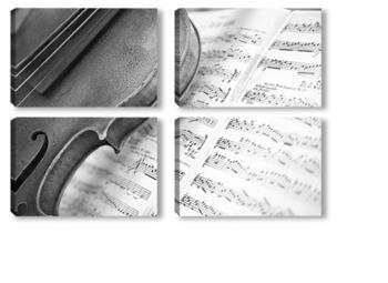 Модульная картина скрипка с нотами