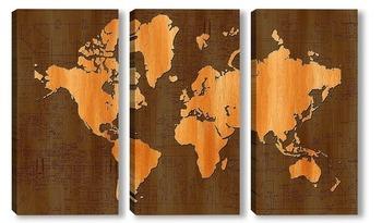 Модульная картина деревянная карта