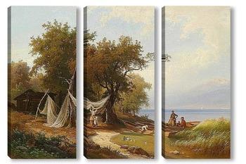 Модульная картина Семья Рыбака на Берегу Женевского Озера