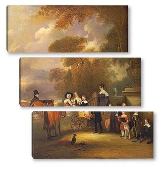 Модульная картина Преподобный и миссис Генри Палмер с их шести детьми младшего воз
