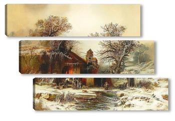 Модульная картина Зимний пейзаж с кузницей