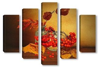 Модульная картина Натюрморт с гроздьями рябины