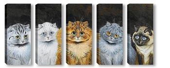 Модульная картина Пять кошек