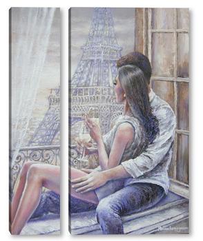 Модульная картина Свидание в Париже.