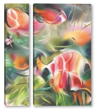 Модульная картина Красные рыбы в зелёной воде