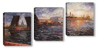 Модульная картина Дворцовый вид и два моста