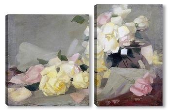 Модульная картина Лимонные розы в стеклянной вазе