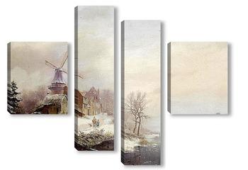 Модульная картина Зимний пейзаж, мельница