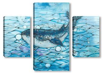 Модульная картина Синий кит