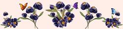 Наклейки Пурпурные цветочки