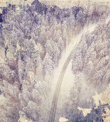 Наклейки Зимняя дорога