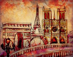 Наклейки Загадочный Париж