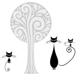 Наклейки Кошечки около дерева