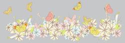 Наклейки Полевые цветы и бабочки