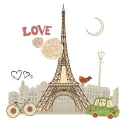 Наклейки Париж. Эйфелева башня