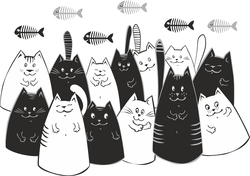 Наклейки Коты и рыба