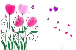 Наклейки Бабочки на тюльпанах
