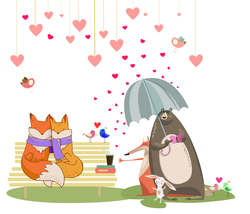 Наклейки Влюбленные лисички