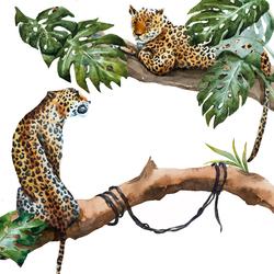 Наклейки Леопарды на дереве