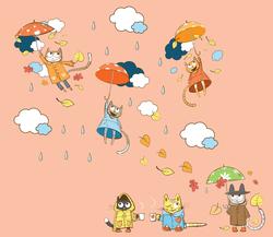 Наклейки Летящие котики с зонтиками