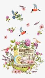Наклейки Корзинка с цветами