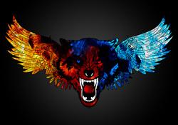Наклейки Волк и крылья