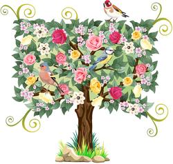 Наклейки Дерево с птичками