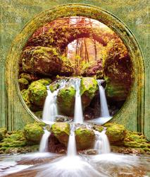 Наклейки Водопад в осеннем лесу