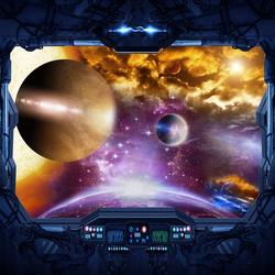 Наклейки Вид из космического корабля