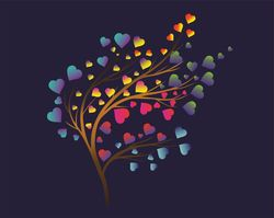 Наклейки дерево сердечек