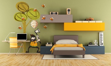 Наклейка дровосек и пчелы