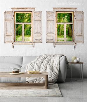 Наклейка Деревянные окна