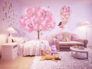 Наклейка Розовое дерево счастья