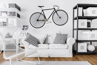 Наклейка Стильный белый велосипед