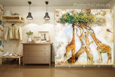 Наклейка Жирафы на прогулке