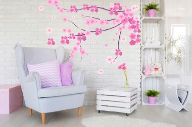 Наклейка Нежная розовая цветущая веточка