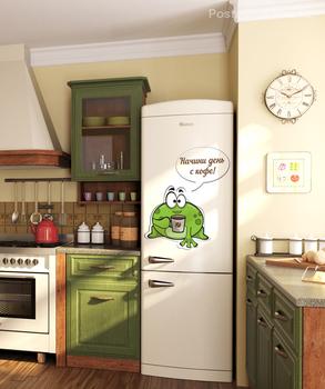 Наклейка лягушка с кофе