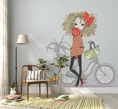Наклейка Девушка с велосипедом