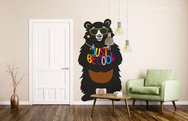 Наклейка Be cool медведь