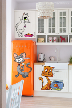 Наклейка Мультяшные коты