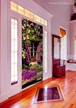 Наклейка Окно и цветы