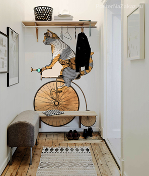 Наклейка Кот на велосипеде