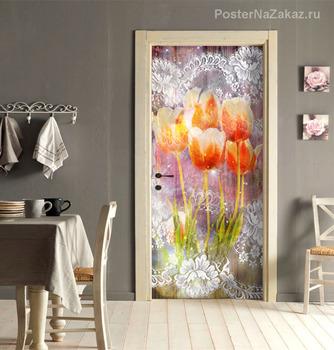 Наклейка Тюльпаны и кружево