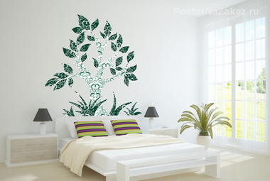 Наклейка Зеленое дерево с орнаментом