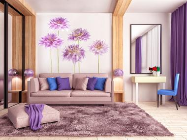 Наклейка Фиолетовые пионы